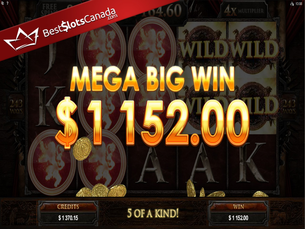 Game of Thrones Slot Lannister Mega Big Win